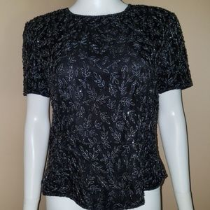 ADRIANNA Papell Occasions Beaded Silk Blouse 14 XL